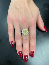 Load image into Gallery viewer, Fancy Yellow and White Diamond Heart Shape Ring