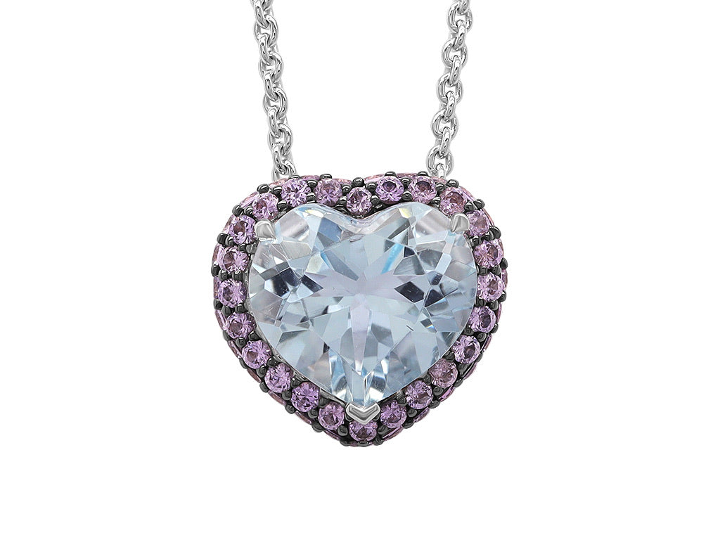 Purple Sapphire and Aquamarine Heart