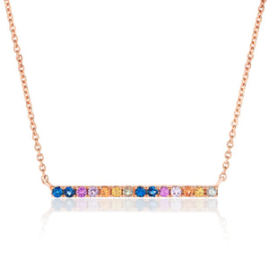 Multi Colored Sapphire Bar Necklace