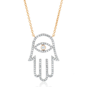 Hamsa Evil Eye Diamond Necklace