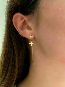 Hanging Star and Diamond Earring