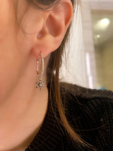 Load image into Gallery viewer, Diamond Hoop and Star Charm Earrings.