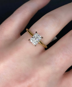 Two Tone Radiant Diamond Solitaire Engagement Ring