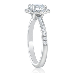 Platinum Halo Round Diamond Halo Engagement Ring