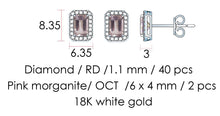 Load image into Gallery viewer, Emerald Cut Morganite and Round Diamond Halo Studs