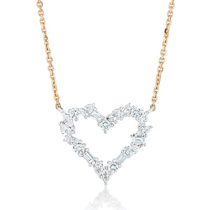 Small Mixed Cut Diamond Heart Necklace