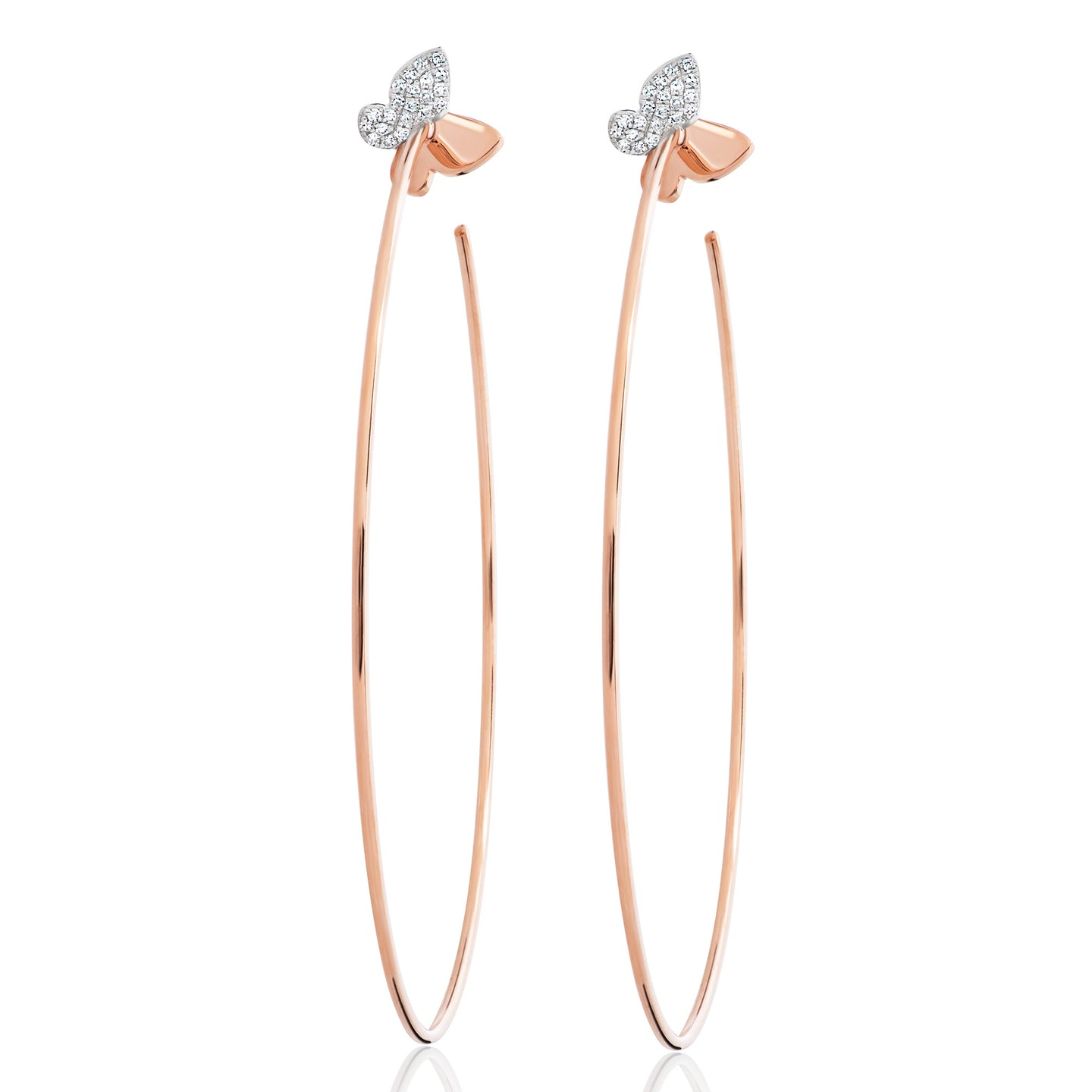 Diamond Butterfly Hoops