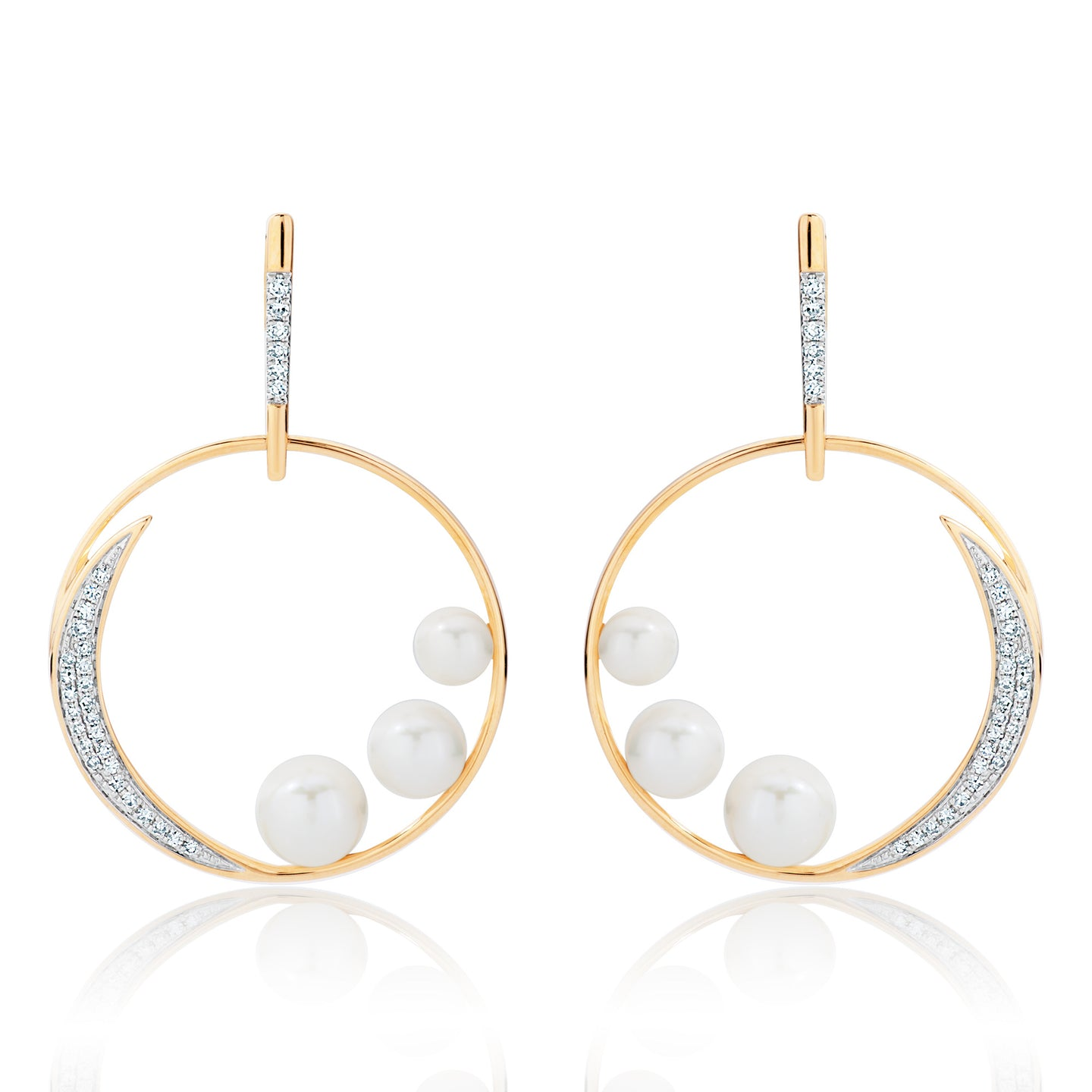 Diamond and Pearl Crescent Moon Earrings
