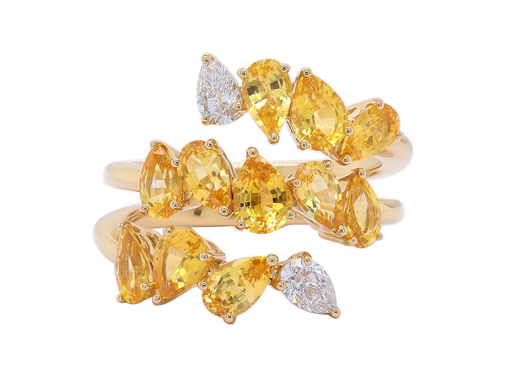 Yellow Sapphire and Diamond Mixed Cut Ring