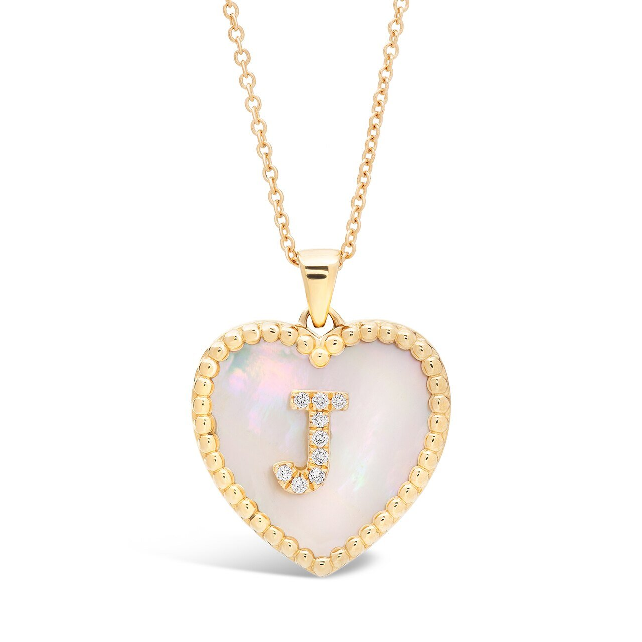 Medium Mother Of Pearl Single Diamond Initial