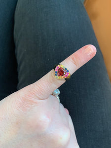 Rainbow Sapphire and Garnet Heart Ring