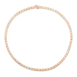 18K Rose Gold Diamond Baguette Choker Necklace