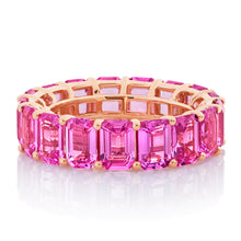 Load image into Gallery viewer, Emerald Cut Pink Sapphire Band