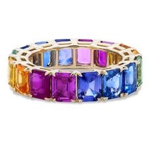 Load image into Gallery viewer, Sapphire and Ruby Rainbow Ombre Band
