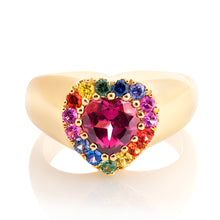 Load image into Gallery viewer, Rainbow Sapphire and Garnet Heart Ring