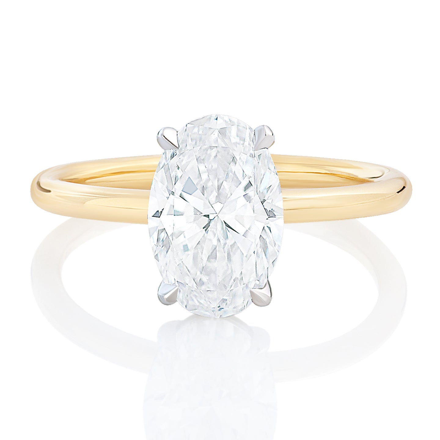 Oval Solitaire Two Tone Engagement Ring