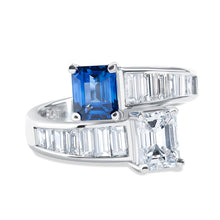 Load image into Gallery viewer, Platinum Sapphire and Diamond Cross Over Ring