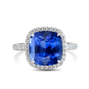 Platinum Cushion Sapphire with Diamond Halo