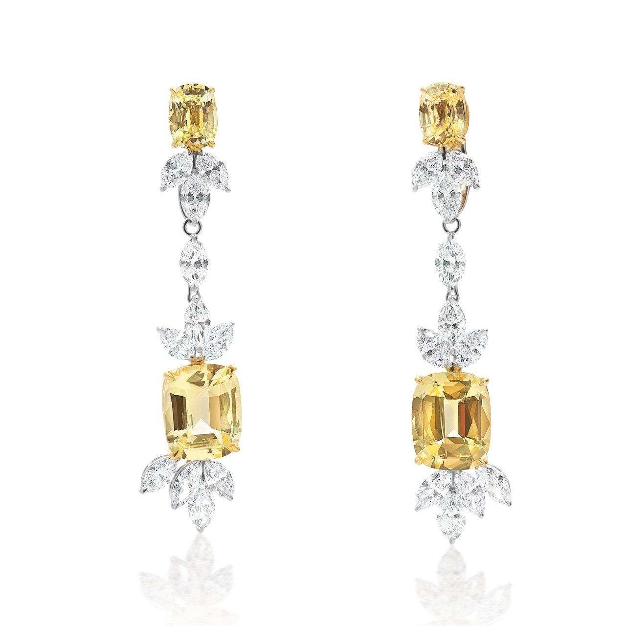 Fancy Diamond and Yellow Sapphire Dangle Earrings