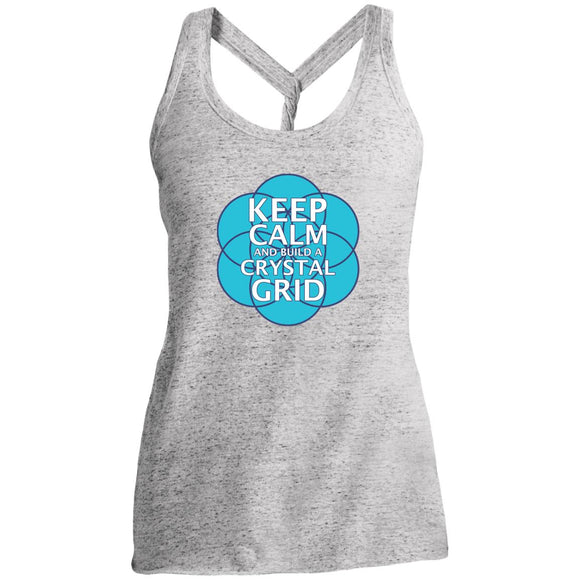 Keep Calm and Build a Crystal Grid - District Made Ladies Cosmic Twist Back Tank