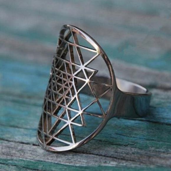 Sri Yantra rings Silver plated Ring adjustable size