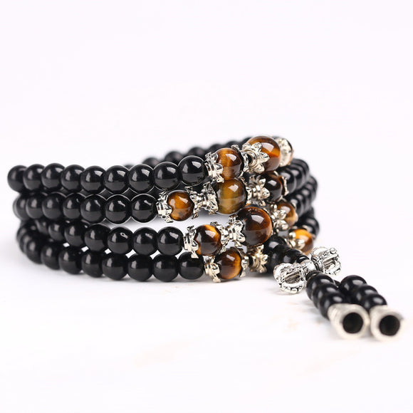 Tiger Eye and Black Obsidian Crystal - 108 Bead Mala Bracelet/Necklace