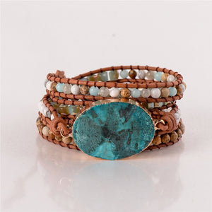 Leather Wrap Bracelet  with Ocean Jasper Semi Precious Stone