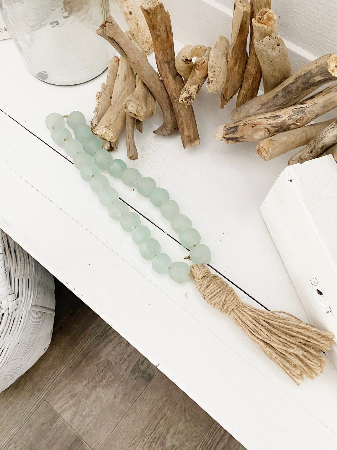 All Sea Glass Garland with Tassel