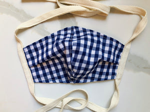 Navy Gingham Face Mask