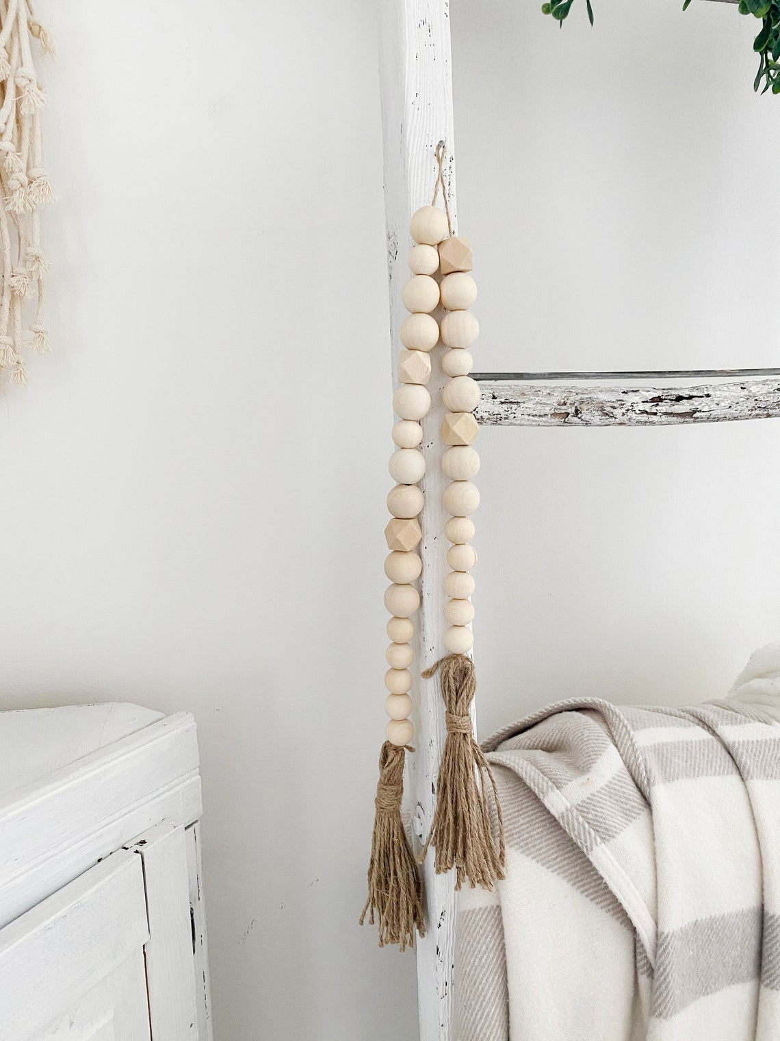 Geometric Wood Bead Garland with Tassel