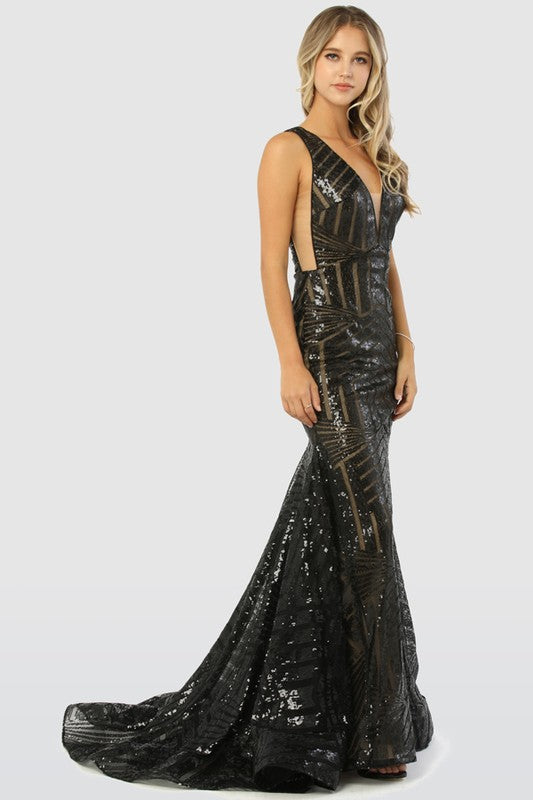 Mariah Sequin Black Gown