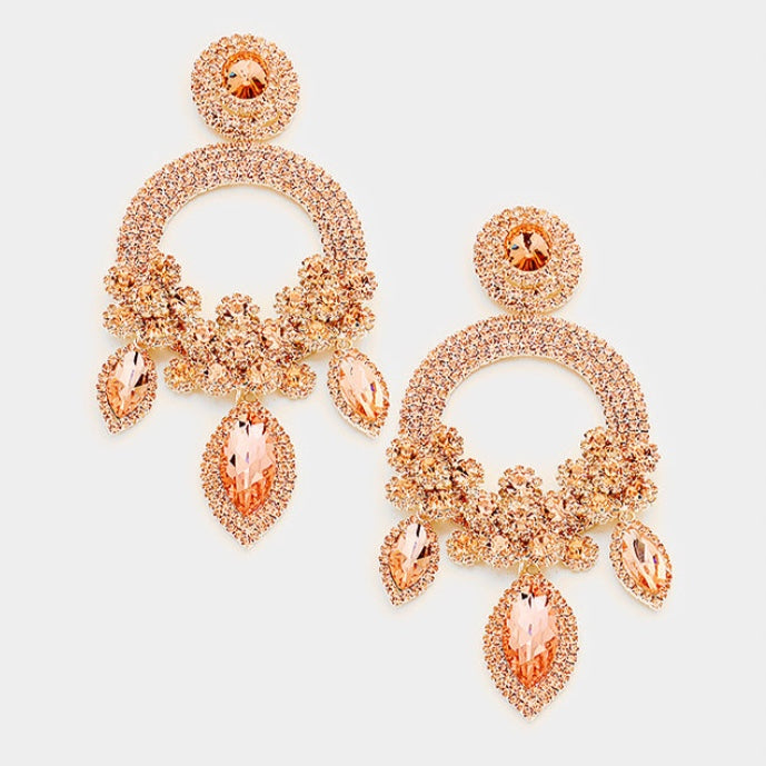 Peach Crystal Pave Earrings