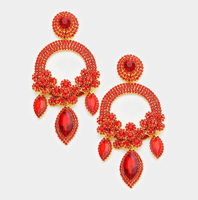Red Crystal Pave Earrings