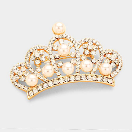 Gold Pearl Pave Crown Brooch