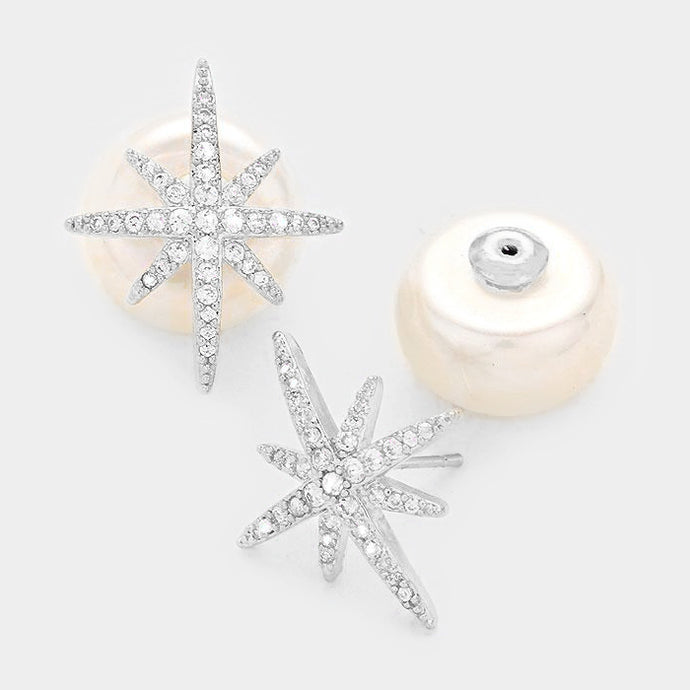 Double-sided Pearl Starburst Earrings