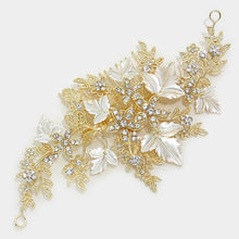 Load image into Gallery viewer, Crystal Floral Leaf Hair Comb