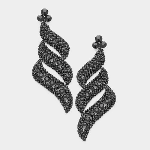 Pave Crystal Evening Earrings