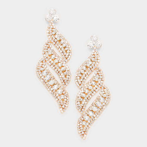 Rose Clear Pave Crystal Evening Earrings
