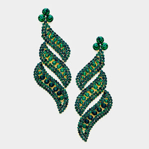 Emerald Pave Crystal Evening Earrings