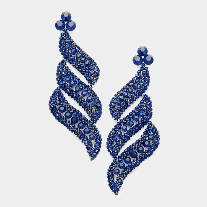 Navy Pave Crystal Evening Earrings