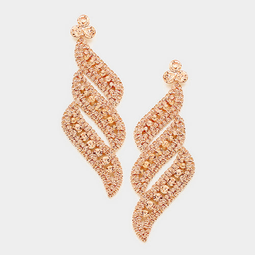 Peach Pave Crystal Evening Earrings