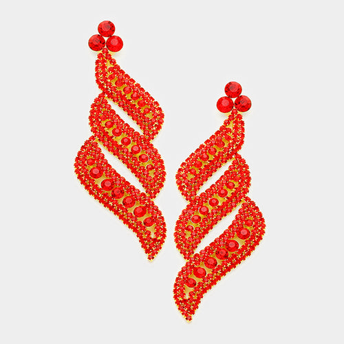 Red Pave Crystal Evening Earrings