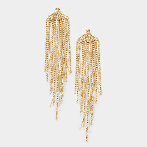 Long Crystal Fringe Earrings (MORE COLORS AVAILABLE)