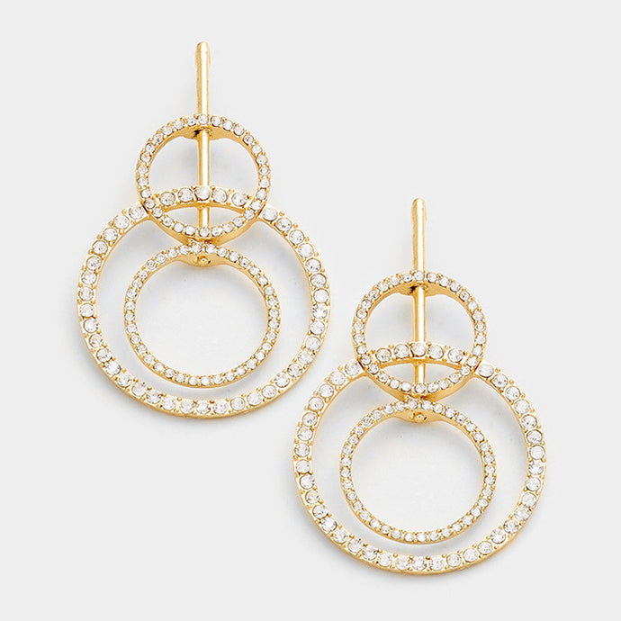 Gold Crystal Multi Hoop Earrings