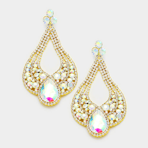 Glass Teardrop Evening Earrings  (MORE COLORS AVAILABLE)