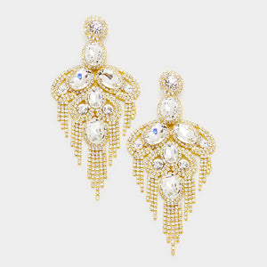 Rhinestone Fringe Evening Earrings  (MORE COLORS AVAILABLE)