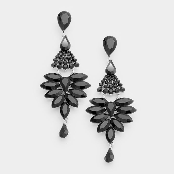 Black Marquise Chandelier Earrings