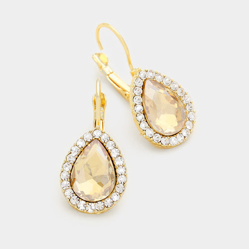Pave trim crystal teardrop earrings  (MORE COLORS AVAILABLE)