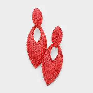 Pave Oval Cut Out Evening Earrings  (MORE COLORS AVAILABLE)