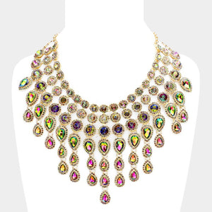 Multi Teardrop Crystal Fringe Necklace